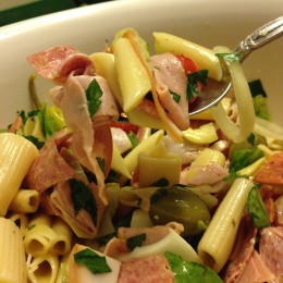 Assorted cured meats, pickles, vegetables from the garden plus pasta.