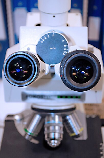 An interesting view of a binocular microscope