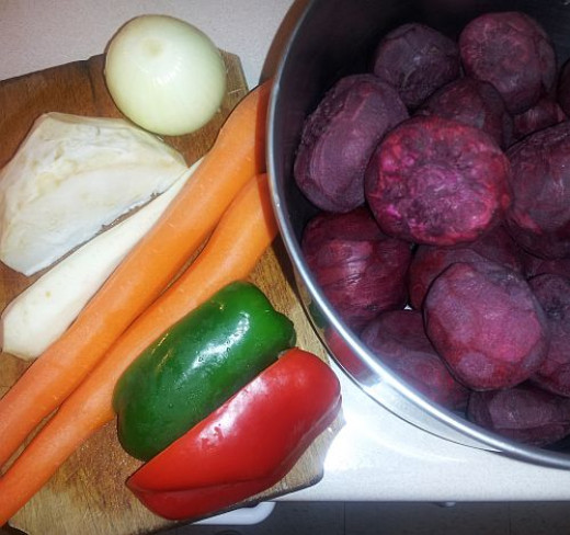 Vegetables for red beet soup