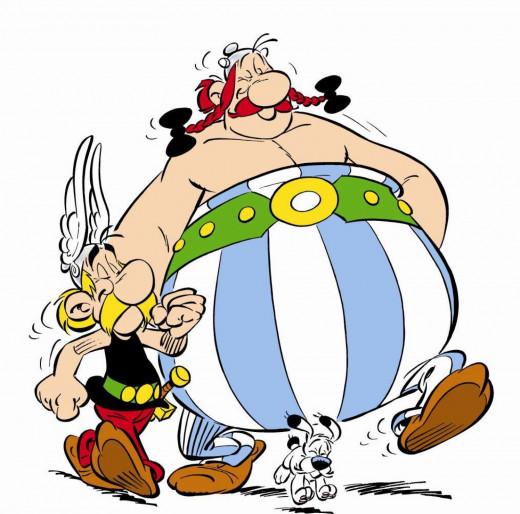 Two popular comic book characters, Astérix and Obélix
