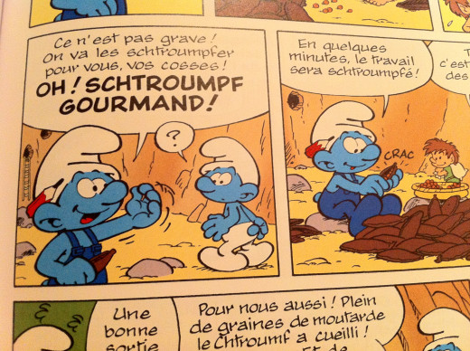 Panel from Les Schtroumpfs (The Smurfs) in its original French