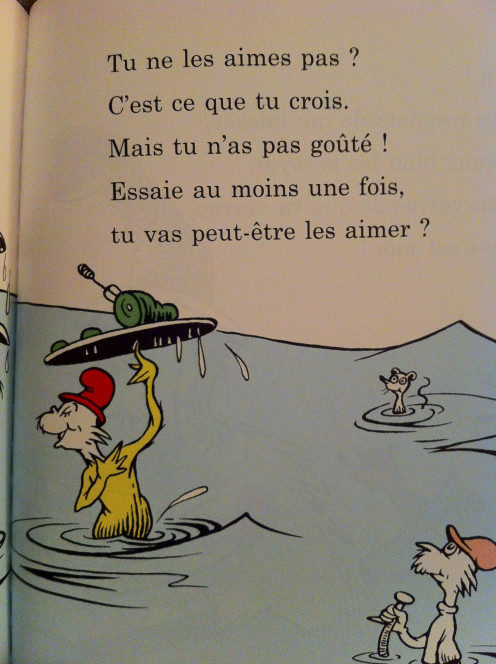 Excerpt from the French version of Green Eggs and Ham