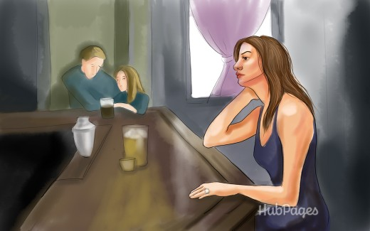 Married woman alone in a bar