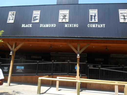 The entrance to the Black Diamond indoor haunted coaster.