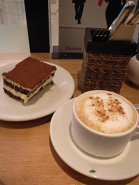 Italian Tiramisu accompanied by cappuccino