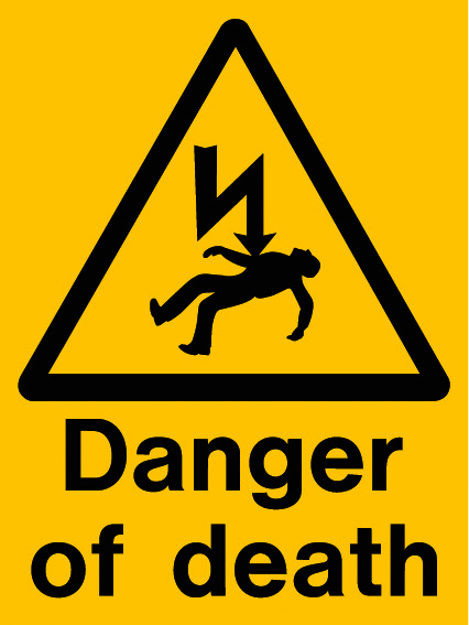 Danger of Death Sign in bright yellow orange with triangle and clip art image
