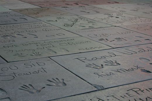 Imprints outside of Graumann's Chinese Theatre, Hollywood, California.