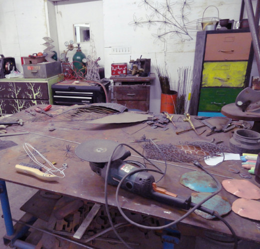 The creative workbench at Sorensen's Studio, Fresno CA.