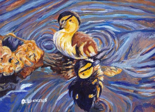 2 Ducklings Souls, an acrylic painting on loose canvas.
