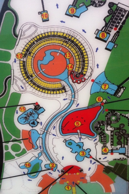 Water Park Map: 1.Entrance 2.Gondola 3.Swimming Pool 4.Niagra Tower Lockers 5.Food Court 6. Rafting River 7.Wave Pool 8.Atlas Tower 9.King Kong Tower 10.Shrek Tower 11.Doctor 12.Reception 13.SPA 14.Sunkiss Beauty Salon 15.Play Area 16.Swimming Pool