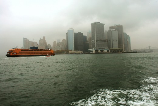 New York Ferry Boat and Skyline