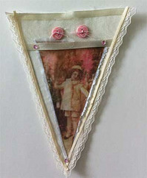 Vintage Holiday Pennant with Image Transfer of Child in White Coat