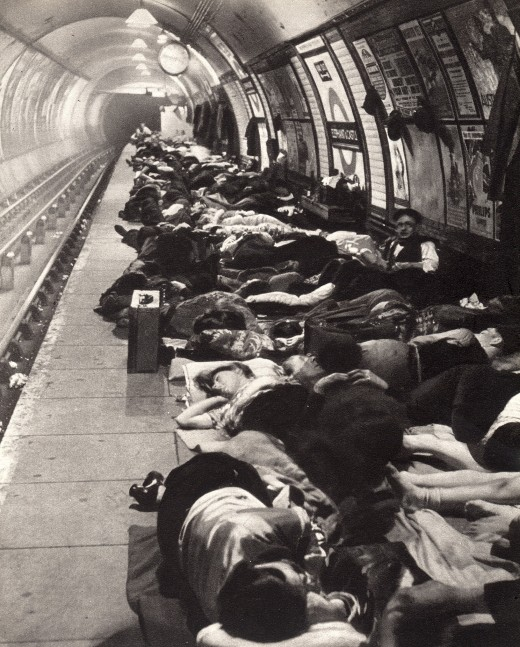 Crowds sleeping in the Elephant and Castle Tube Station, 1940, during a bombing raid.