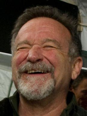Robin Williams before a USO show