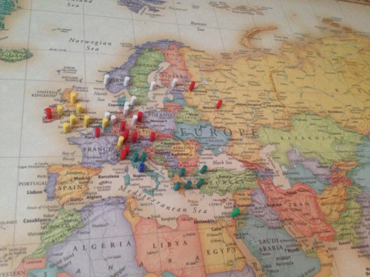 A cluster pins in Europe indicating places visited.