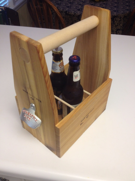 Wooden beer crate tote with bottle opener.