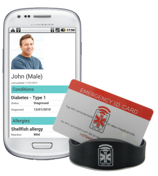 HealthID offers an Emergency I.D. card in addition to their NFC medical ID bracelet. Once you purchase one of their bracelets or ID cards, there's no additional charge or annual fee to enter, store and update your medical info at www.healthid.com.