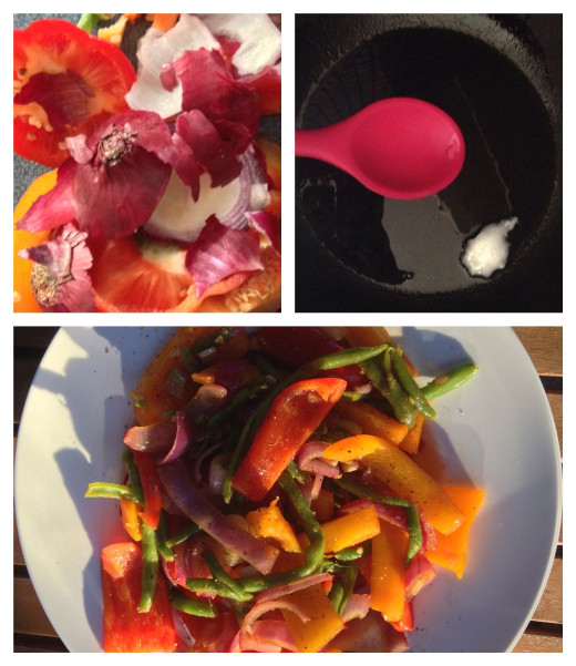 Coconut Oil in Cooking. Pepper and Onion Stir Fry