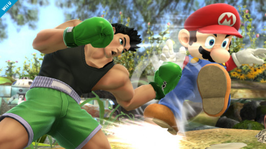 Little Mac landing a blow on Mario