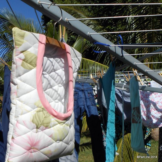 My space-saving Brabantia rotary umbrella clothesline.