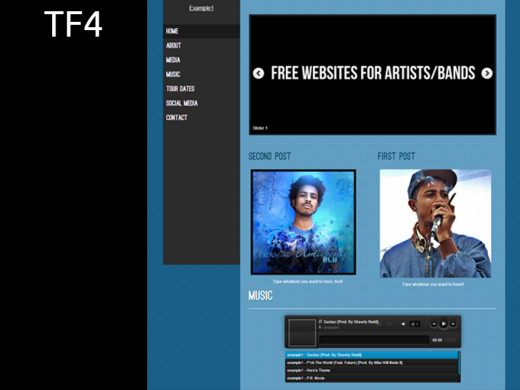 Blue colored theme for a music site