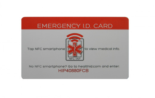 The HealthID Medical ID Card can be purchased separately for $24.00 or as a combo with the HealthID Bracelet for $40.00 US. A person's medical info on this card can be accessed by NFC technology or by entering the card's 'HIP' code into HealthID.com.
