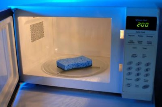 MOISTEN sponge, then nuke it for one to two minutes. I only do it for 30 to 45 seconds because my microwave starts making noise and I get nervous, so do what is best for your microwave model.