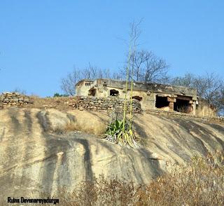 Ruins In Devarayanadurga. View Starry Skies At Night From The Road Below
