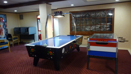 The Air Hockey table in the games room