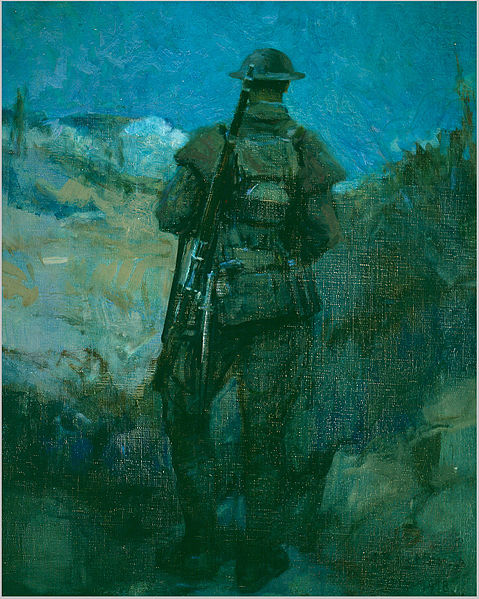 A Canadian soldier on sentry duty in a trench -- a 1918 painting