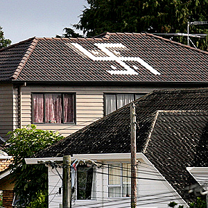 This house caused lots of complaints in New Zealand when the owner - a devout Hindu - innocently painted a swastika as a symbol of protection for his family - at the time he was unaware of the Nazi connotation