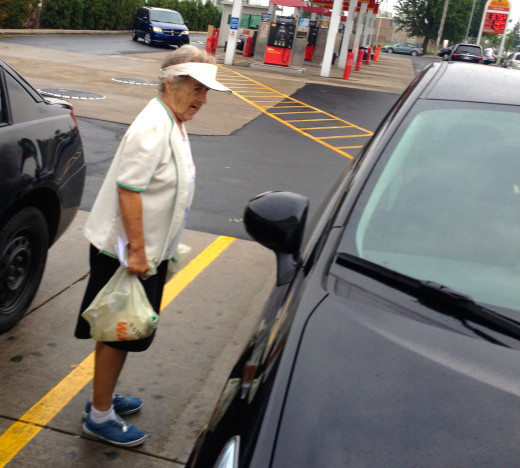My mom getting in the wrong car  after she shopped at WaWa Market in Philadelphia. She got the color right, however.