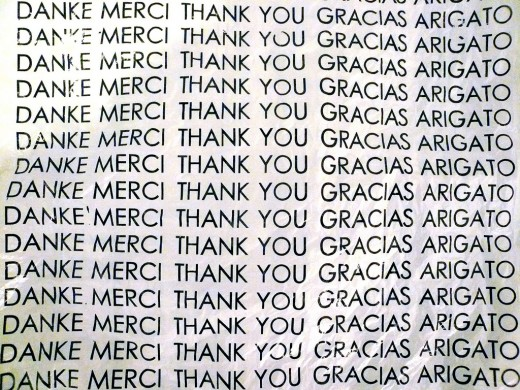 Say thank you, merci, danke, gracias, arigato, anything to make sure they know you are thankful for them.