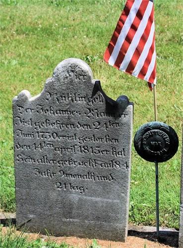 Grave marker, inscribed in German, of ancestor Johannes Mann