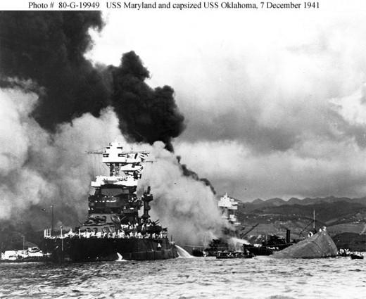 USS Maryland and capsized USS Oklahoma