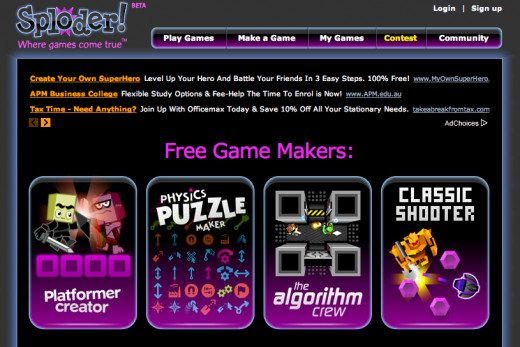 Create games for free with the Sploder platform