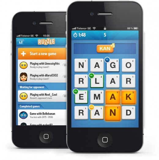 Ruzzle app game on Apple iPhone.