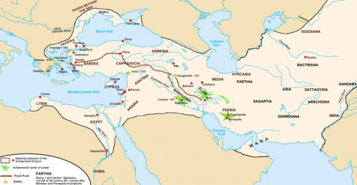 The map details the location of some of the Empire's regions and historic battles. By the time of Darius III, regions such as Egypt were in continuous rebellion against Persian rule.