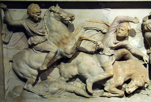 Alexander shown on his horse Bucephalas trampling a Persian opponent.