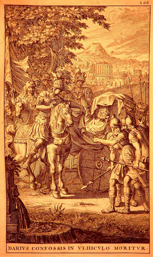 Alexander continued to chase Darius after Gaugamela. Darius was stabbed by some of his generals and left to die. He was later found by a Macedonian soldier. This romanticised image from 1696 shows Alexander arriving to view Darius's body.