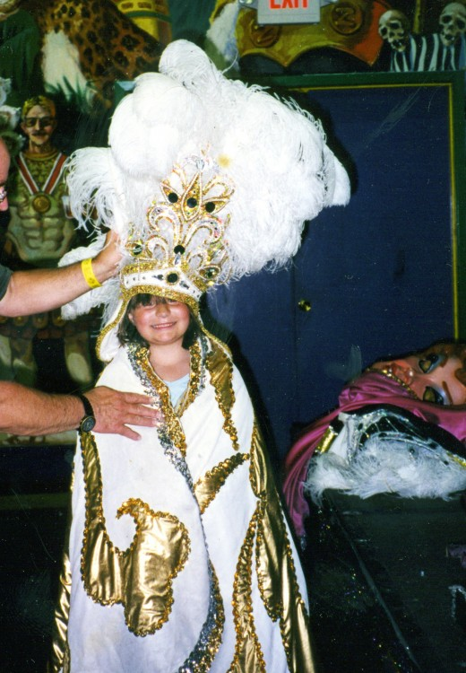 Before going on the Mardi Gras World tour, guests can dress up in Mardi Gras ball items and head wear