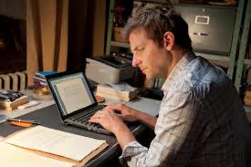 He rewrote the manuscript into his laptop.