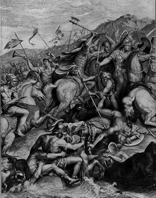 A scene from the Battle of the Granicus. Alexander, on the far right of the image, is about to be struck down by a Persian soldier. Alexander's compatriot Cleitus the Black, with his axe held aloft, will intervene to save the king.