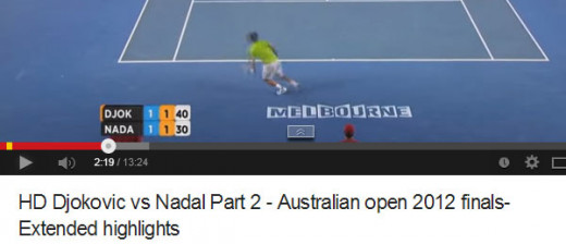 "ABOVE: They are ""on serve"" one set-all, 1 game-all in the third set, with Djokovic serving a game point, 40-30."