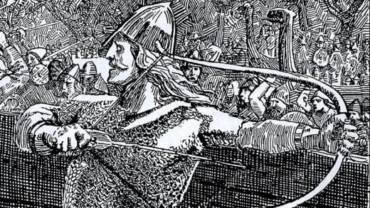 Einar Tambarskalve, Olaf Tryggvason's famous bowman, drawing by Christian Krog