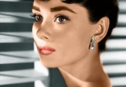 Audrey Hepburn with lipstick