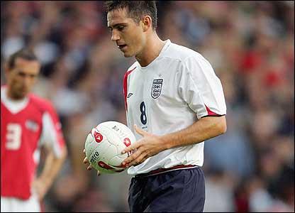 Frank Lampard preparing to take a spot kick for England