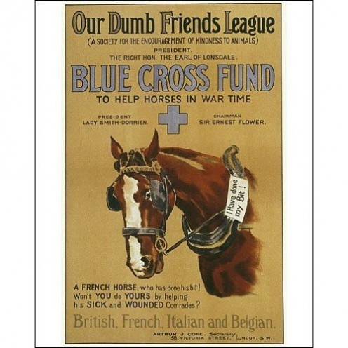 Poster for the Blue Cross appeal of the Our Dumb Friends League, published 1916.