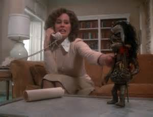 "Karen Black as ""Amelia"" and the Zuni doll spend a quiet Friday night alone"