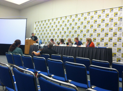 Panel gets ready before a session at Comic Con.